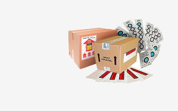 Etiquetas de marcado para embalajes de mercancías peligrosas.